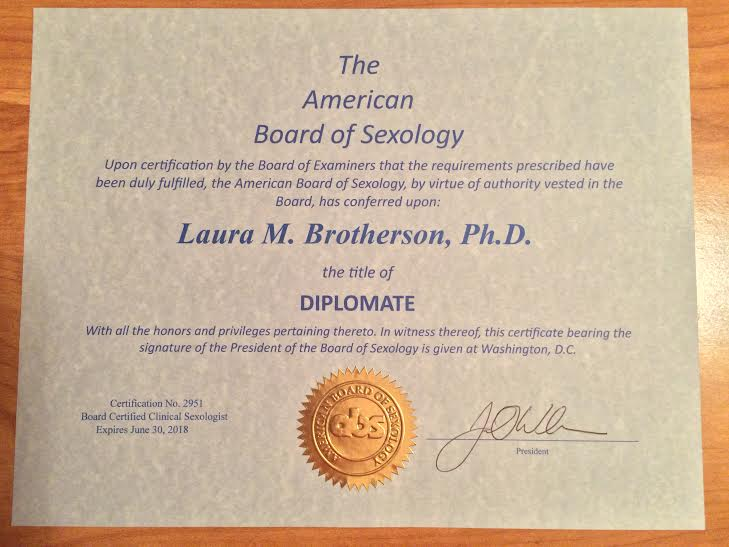 it's official -- laura certifies as a  therapist